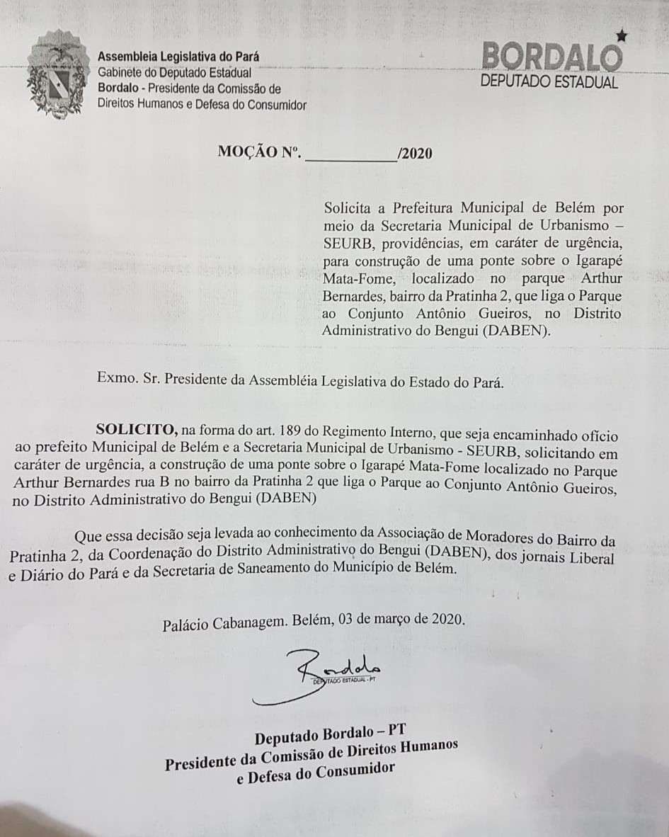 Moção solicitando construção de uma ponte sobre o Igarapé Mata-Fome
